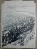 Tarani la aratul campului// litografie Marcel Chirnoaga, exemplar unic