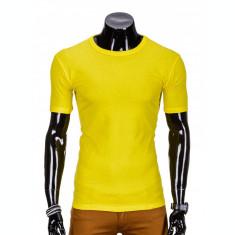Tricou pentru barbati, galben simplu, slim fit, mulat pe corp, bumbac - S620
