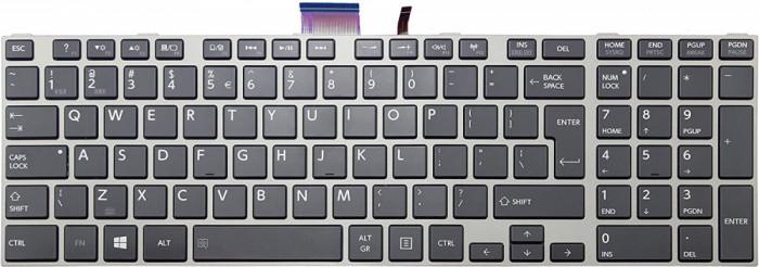 Tastatura Laptop, Toshiba, Satellite S850D, rama argintie