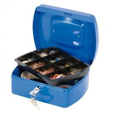 Cutie Metalica pentru Valori, 205x85x160 mm, Intercuietoare cu 2 Chei, Culoare Albastra,Caseta pentru Bani, Cutie pentru Bani