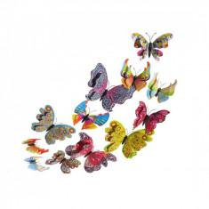 Fluturi 3D magnet, dubli, decoratiuni casa, evenimente, 12 bucati, colorati, A22