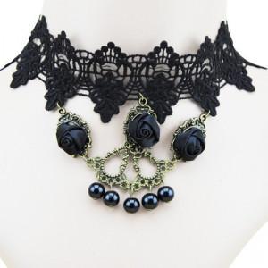 Set colier+ bratara cu trandafiri satin- model gotic victorian