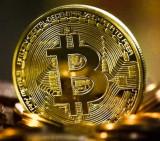 Moneda de colectie Bitcoin, aurie, America de Nord