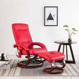 VidaXL Fotoliu de masaj rabatabil cu taburet, roșu, piele ecologică