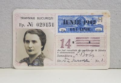ABONAMENT PE O LINIE DE TRAMVAI - 14 , ELIBERAT IN IUNIE 1942 foto
