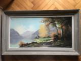 Tablou,pictura in ulei pe panza,peisaj in padure,semnat, Natura, Altul