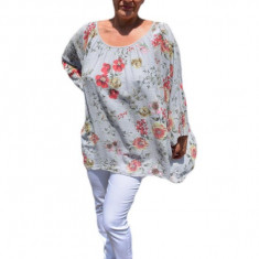 Bluza moderna de vara , cu imprimeu floral, nuanta de bej, 42, 44, 46, 48, 50, 52, 54, 56, 58