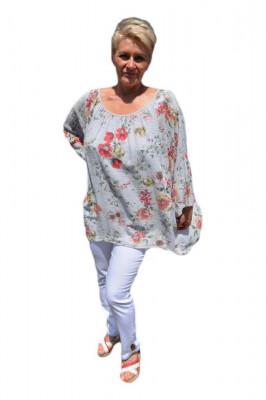 Bluza moderna de vara , cu imprimeu floral, nuanta de bej foto