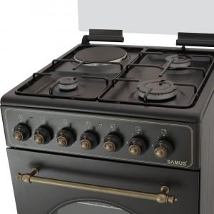 Aragaz rustic Samus SR550EL3B mixt 3 arzatoare gaz 1 electric 48 litri Negru