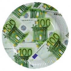 Farfurii cu bancnote euro 23 cm pentru petreceri, cod 33/0085, Set 10 buc