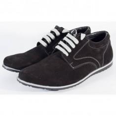 Pantofi pentru barbati/barbatesti, negri din piele (cod SPO4)