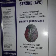 CARTE Vintage Medicina,SINTEZE SI REZUMATE-Revista Romana de STROKE (AVC),T.GRAT