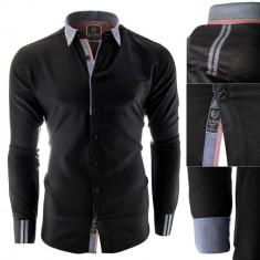 Camasa pentru barbati, neagra, slim fit, elastica, casual, cu guler - gubbio, L, S, Maneca lunga
