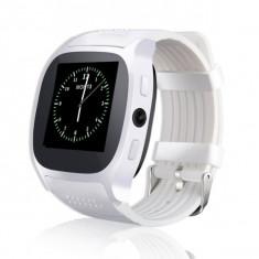 Ceas smartwatch OEM T8 - Functie Telefon, Touchscreen, Camera foto 3MP, Bluetooth, SIM Card, Micro USM Port, Alb