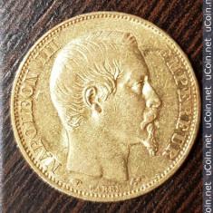 Moneda aur franta 20 franci francs Napoleon III 1858 A 6.45 gr