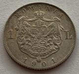 1 Leu 1901 Ag, Romania, XF/a UNC, RARA!