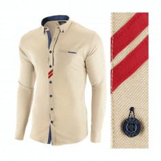 Camasa pentru barbati, bej, slim fit, casual - Monument Pierre, M, S, XL, XXL, Maneca lunga