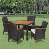 Set mobilier de grădină din ratan cu 4 scaune si masa cu blat de lemn