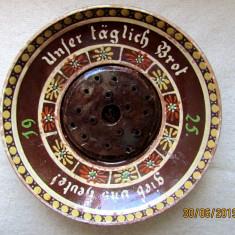 "Ceramica veche 1925,mesaj crestin""Painea noastra..."".Scriere gotica, raritate."