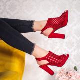 Sandale cu toc dama rosii Hanesia