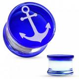 Cumpara ieftin Plug pentru ureche sub formă de şa, realizat din sticlă pyrex, cu ancoră pe bază albastră - Lățime: 14 mm