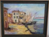 "PICTURA, TABLOU modern, ""Sat pescaresc in Italia "", nou, pictor roman consacrat, Peisaje, Ulei, Realism"