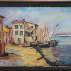 "PICTURA, TABLOU modern, ""Sat pescaresc in Italia "", nou, pictor roman consacrat"