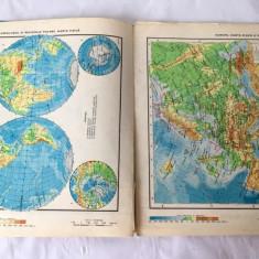 Atlas Geografic scolar vechi, anii 1977, Ed Didactica si Pedagogica, Bucuresti