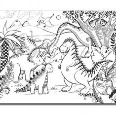 Plansa de colorat reutilizabila din silicon Jurassic Age Dinozauri
