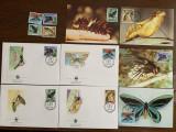 papua - fluturi - serie 4 timbre MNH, 4 FDC, 4 maxime, fauna wwf