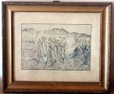 Tablou vechi scola italiana gravura creion - cei trei pastori