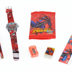 Set ceas pentru copii cu Spiderman + portofel, creioane, ascutitoare, rigla si guma - COCO8011605