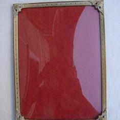 Rama veche din alama prevazuta cu geam din sticla convexa, Aluminiu, Dreptunghiular