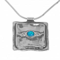 Lant cu pandantiv din argint 925, model geometric, ornamentat cu opal, LPAG32