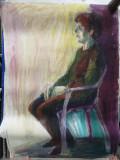 Melancolia, guasa, format mare 70x100 cm, Portrete, Impresionism