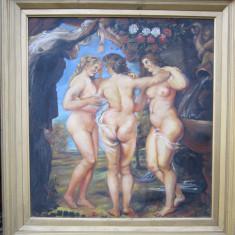 "Tablou nud ""trei gratii"", Ulei, Realism"