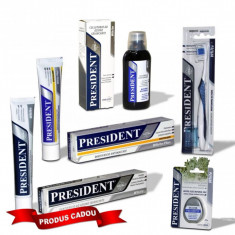 Pachet Promo igiena orala President White albire naturala: Gratuit pasta de dinti 50ml + Apa de gura 250ml + Periuta de dinti perii White cu Carbonat