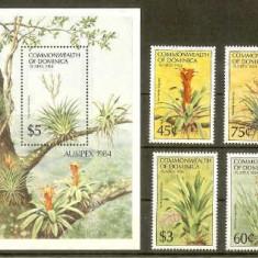 Dominica 1984 AUSIPEX, Flowers, set + perf. sheet, MNH N.041, Nestampilat