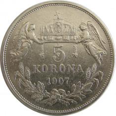 u036 UNGARIA 5 KORONA COROANE 1907 ARGINT VF RARA
