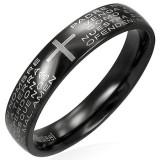 Inel negru din oțel inoxidabil cu text de rugăciune - Marime inel: 49