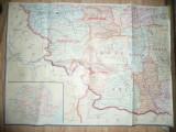 Harta Romaniei 1/4 partea S-V ,dim.=77x58cm