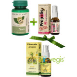 Pachet Imunitate Extra: Noni 60Cpr + Propolis Cu Echinacea Fara Alcool Spray 20ml + Calmotusin Spray pentru Gat cu Propolis si Menta Fara Alcool 20ml