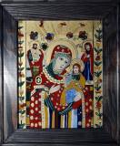 Icoană Fecioara cu Pruncul- pictată pe sticlă