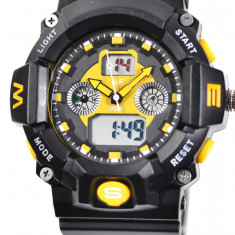 Ceas de mana pentu barbati sport, digital&analog, negru cu galben - MF9004TG