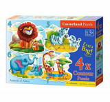 Cumpara ieftin Puzzle 4 in 1 - Animalele Africii, 22 piese