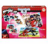 Superpack Miraculous - Joc Domino, Joc Identic, 2 x Puzzle 25 piese, Educa