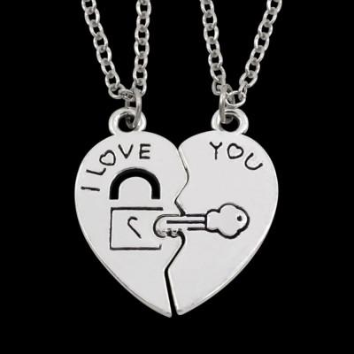 Pandantiv cuplu inima lacat cheie jumatati de inima medalion cu lantisor foto