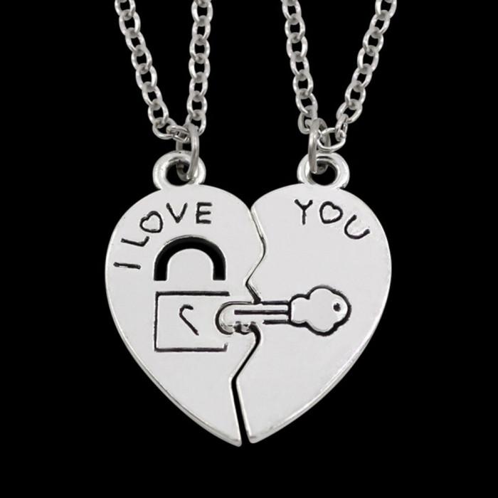 Pandantiv cuplu inima lacat cheie jumatati de inima medalion cu lantisor