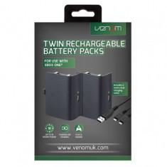 Set 2 acumulatoare pentru Xbox One, negru + 2 m cablu incarcare