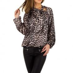 Bluza moderna, vaporoasa, cu animal print, S, Bej